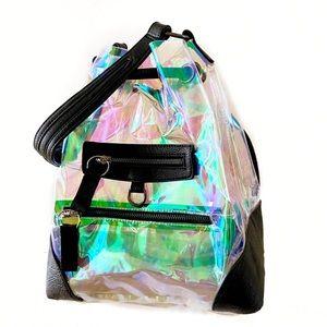 Iridescent Holographic Bucket Bag Backpack